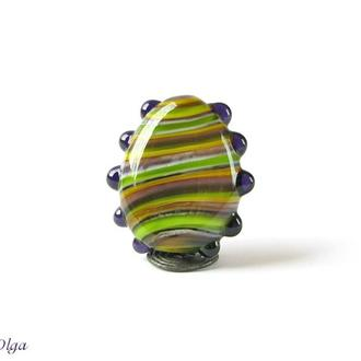 Бусина лемпворк фиолетово-зеленая полосатая