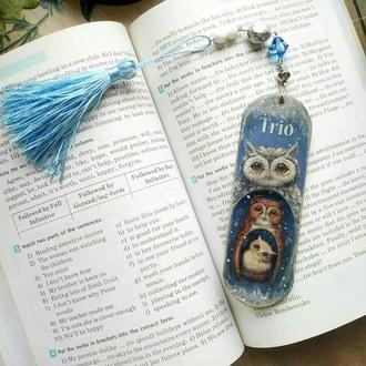 """Закладка для книг деревяннная """"Трио"""""""