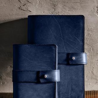 Кожаный блокнот софт-бук, Синий. Блокнот с кожаной обложкой. Деловой блокнот, ежедневник