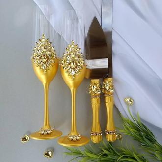 """Свадебные бокалы """"Сияние"""" в золотом цвете."""