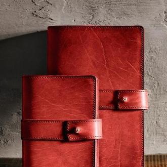 Кожаный блокнот софт-бук, Красный. Блокнот с кожаной обложкой. Деловой блокнот, ежедневник
