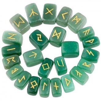 Рунический комплект - Зеленый авантюрин