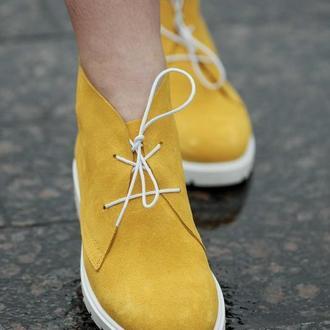 Ботинки кожаные женские Solodilova Fresh Желтые