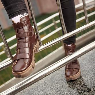 Ботинки кожаные женские Solodilova Mad Max Коричневые