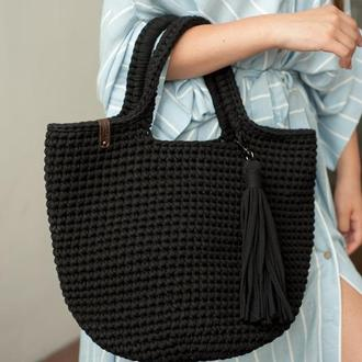 Черная сумка шоппер из натурального хлопка