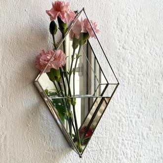 Скляний геометричний флораріум. Настінне кашпо зі скла. Водостійка ваза для квітів.