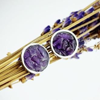 Серьги гвоздики с кристаллами аметиста Минимализм Подарок девушке (модель № 654) JK jewelry