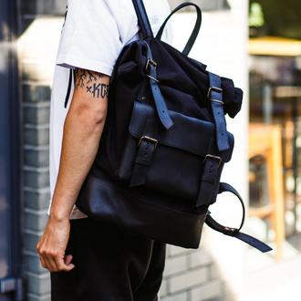 Функциональный мужской рюкзак  Оксфорд из хлопка и натуральной винтажной кожи черн