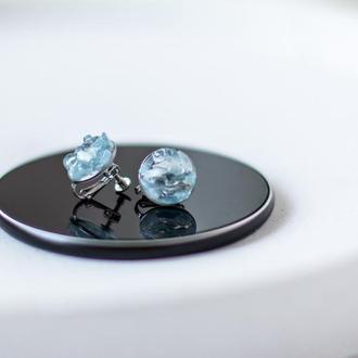 Кліпси - сережки - кульчики з аквамарином - натуральний камінь - сталь