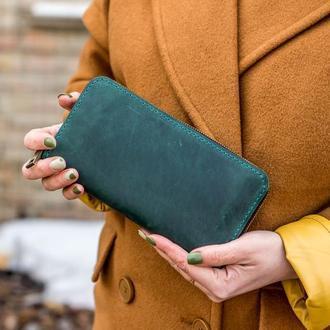 Большой женский кожаный кошелек на круговой молнии, кошелек клатч ручной работы