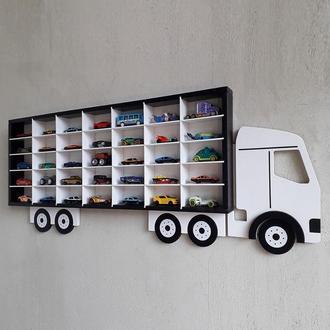"""Полиця-гараж """"Вантажівка"""" для 35 машинок Hot Wheels (чорно-біла)"""