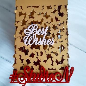 """Шкатулка из бабочек для денежных даров 24х15х15 см с покраской,""""Best Wishes""""(Наилучшие пожелания)"""