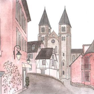 "Картина акварель ""Old town"""