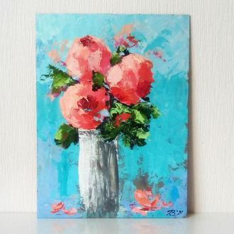 """Картина акрилом """"Букет рожевих півоній"""" 20 х 30 см"""