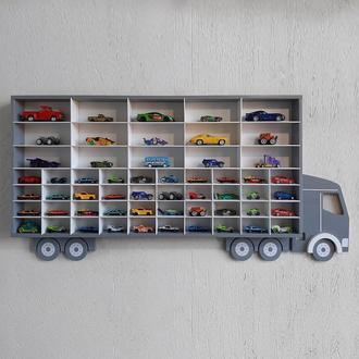 """Полиця """"Вантажівка Мікс плюс"""" сіра для 40 машинок hot wheels та 15 великих машинок kinsmart"""