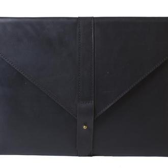 Кожаный чехол для Macbook на кобурной застежке. 03014/черный