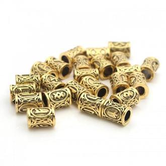 Комплект Руны Викингов в мешочке для рун, цвет золото