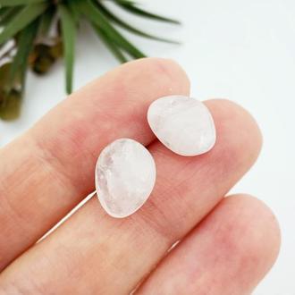 Серьги гвоздики с розовым кварцем Минимализм Подарок девушке (модель № 657) JK jewelry