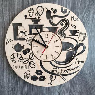 Годинники з дерева на стіну «Час для кави»