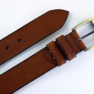 Кожаный мужской ремень Eagle, Джинсовый широкий ремень, 38 мм. Коричневый