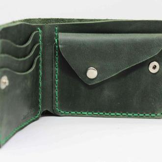 Кошелек с монетницей Emerald. Кожаный кошелек . Зеленый кошелек. Кошелек с гравировкой