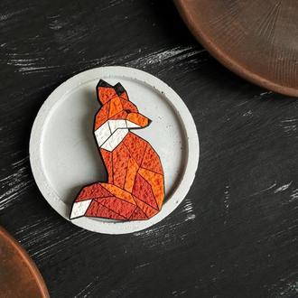 Геометрическая брошь Лисица. Полигональное оранжевое украшение Лисичка. Оригинальная уютная брошь