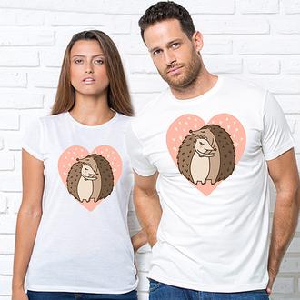 """Парные футболки с принтом """"Обнимающиеся ежики на розовом сердце"""" Push IT"""