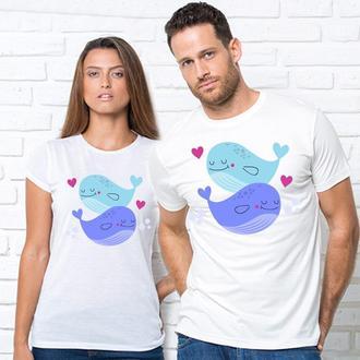 """Парные футболки с принтом """"Парочка синих китов"""" Push IT"""