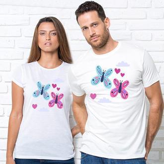 """Парные футболки с принтом """"Синяя и розовая бабочки"""" Push IT"""