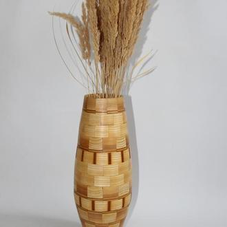 Велика ваза з дерева для сухоцвітів