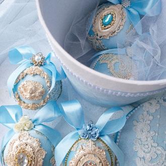 Набор из 5 бархатных небесно-голубых шаров с подарочным боксом