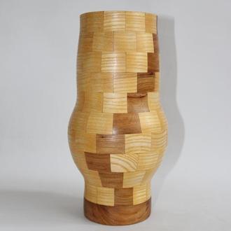 Декоративна сегментна ваза з дерева