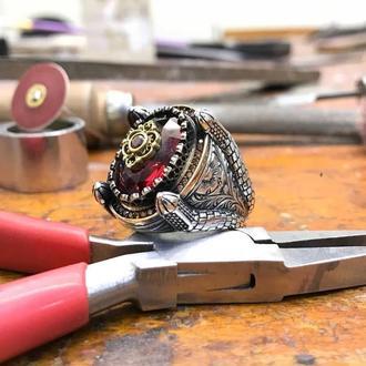 Прекрасный перстень из серебра с орнаментом башни ручной работы с гравированными изящными линиями