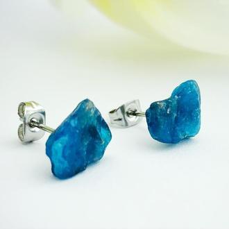 Серьги гвоздики с кристаллами синего апатита Минимализм Подарок девушке (модель № 659) JK jewelry