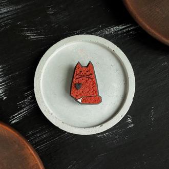 Брошь влюбленный рыжий Котик (есть много цветов). Брошь маленький Милый Котенок ручной работы