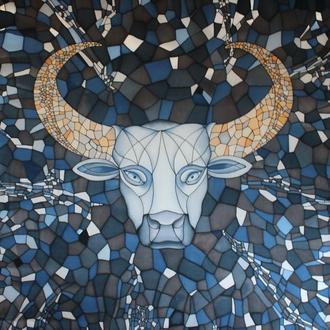 Картина Каменный бык, роспись по шелку, батик панно, портрет быка