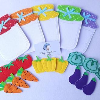 """Сортер """"Овощи"""" развивающая игрушка из фетра. Учим цвета.  Баночки из фетра. Для детей от 6 месяцев"""