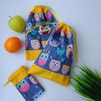 Эко мешочек с совами, эко торбочка, мешочек для хранения, для продуктов, 10 еко мішечки