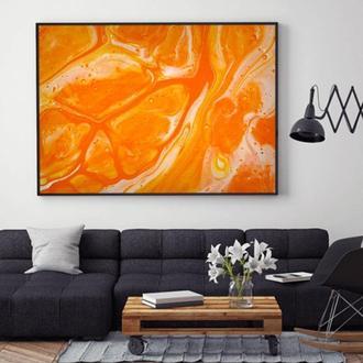 """Интерьерная картина жидким акрилом """"Оранжевая абстракция"""""""