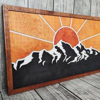 Картина деревянная 3д, 3d Рассвет в горах