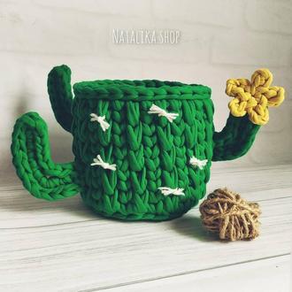 Корзинка кактус органайзер  корзина для хранения декор из трикотажной пряжи