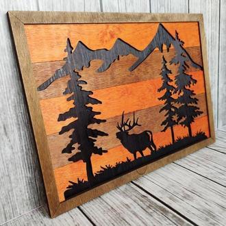 Картина деревянная 3д, 3d Олень в лесу