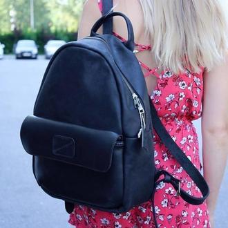 Рюкзак черный кожаный. Женский рюкзак. Мужской рюкзак.
