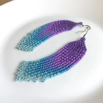 Фиолетово-голубые серьги из бисера