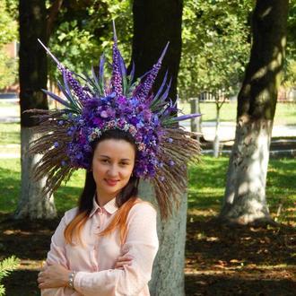 Етно вінок фіолетовий пишний діадема корона кокошник венок из цветов виступ фотосесія
