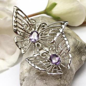Кулон с ажурными бабочками на цепочке, серебро 925 и аметисты