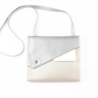 """Серебристая сумка через плечо """"Frida"""". Блестящая сумочка металлик."""