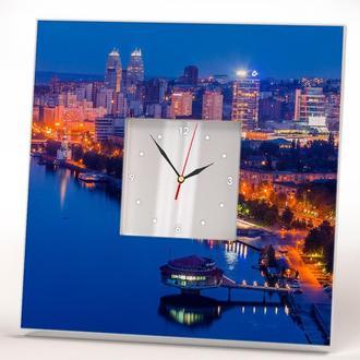 """Часы с панорамой города """"Ночной Днепр. Днепропетровск"""""""