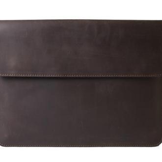 Кожаный чехол для Macbook на магнитных кнопках. 03020/коричневый