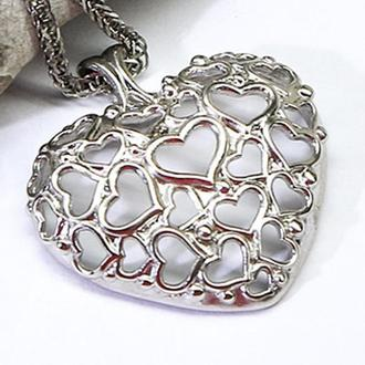 Кулон Сердце из родированного серебра